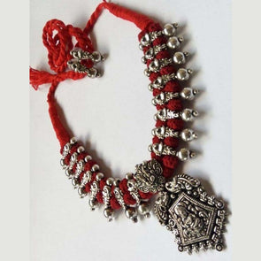 Red Sridevi Temple German Silver Necklace with Earring