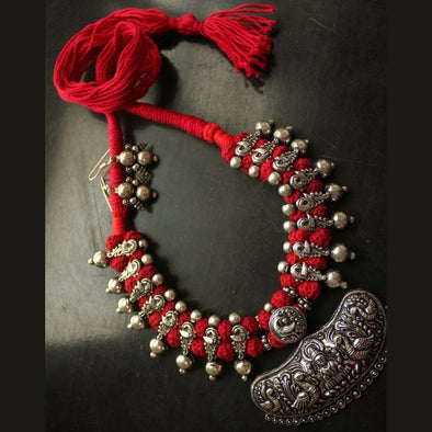 Red Peacock Devi Temple German Silver Necklace with Earring