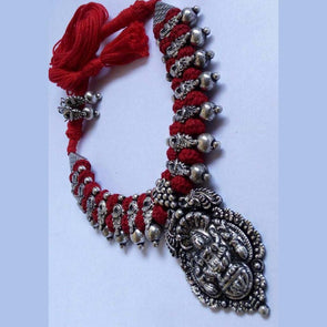Red Saanf Lakshmi Temple German Silver Necklace with Earring