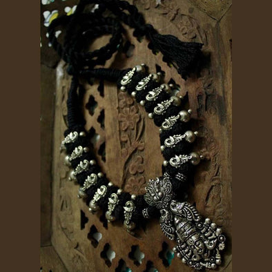 Black Lion Maa Durga Temple German Silver Necklace with Earring