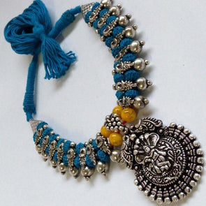 Sea Blue Kannan Temple German Silver Necklace with Earring