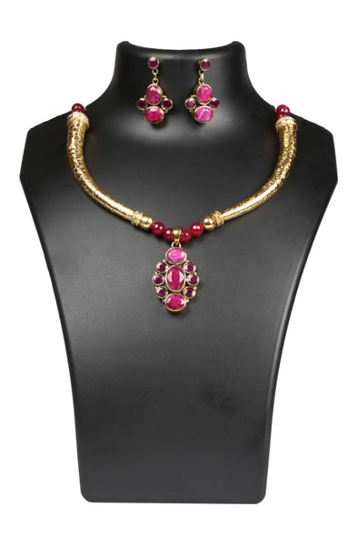 Ruby Pendant Necklace Set