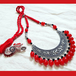Amrapali Hansuli with Red and Black Beads