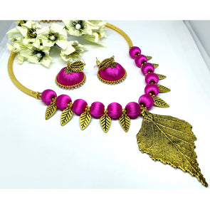 Antique Leaf Charm Finished Silk Thread Choker Set