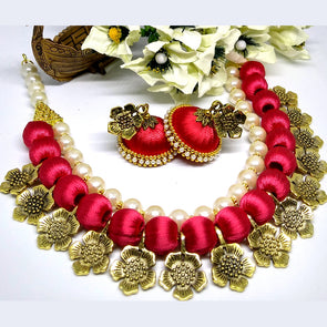 Antique Flower Charm Finished Silk Thread Choker Set