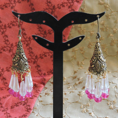 Antique Gold Jhumka with Long Beads