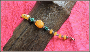Golden yellow and Turquoise bead Bracelet
