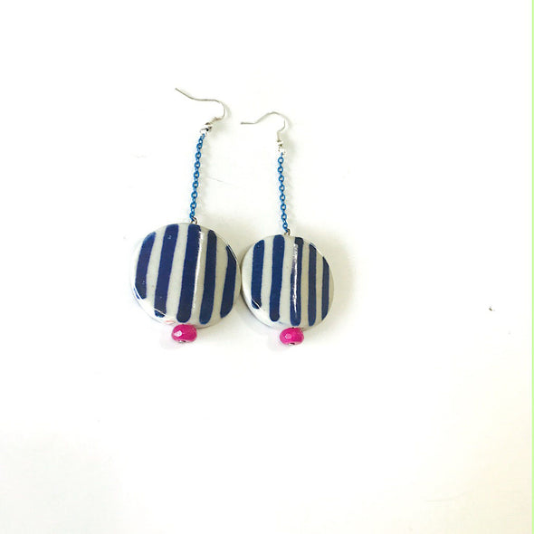 Ceramic Blue Stripes Earrings