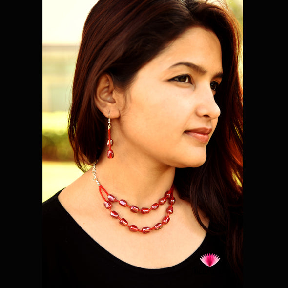 Double Layered Red Necklace with Earring