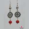 Red & Silver Flower Based Earring