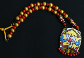 Hand Painted Terracotta Lotus Necklace