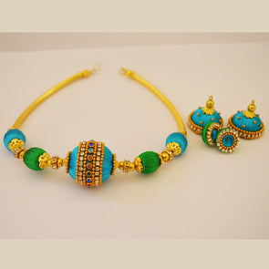 Blue and Green Beads Necklace Set
