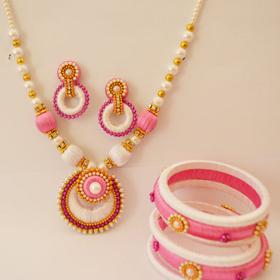 Pink and White Necklace Set