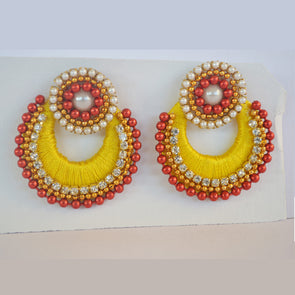 Yellow Chandbali Earrings