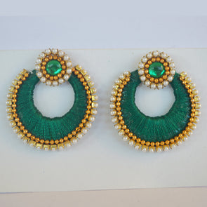 Green Chandbali Earrings