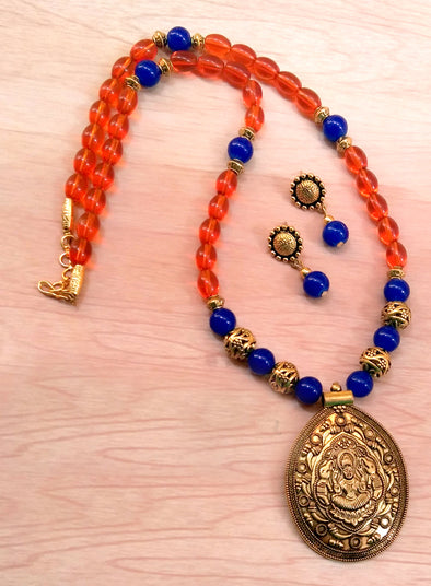 Orange with Blue Antique Neckset