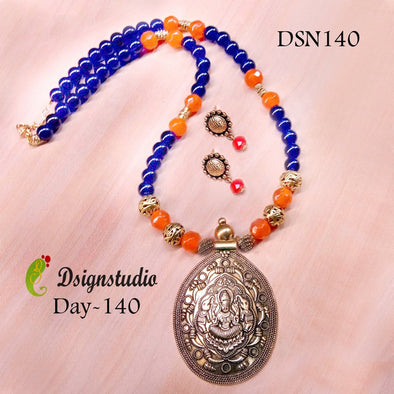 Blue with Orange Antique Necksets