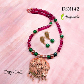 Deep Maroon Krishna Antique Neckset