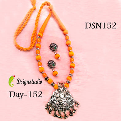Bright Orange Oxidized Neckset