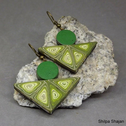 Drop Earrings - Shades of Green with Spiral Pattern