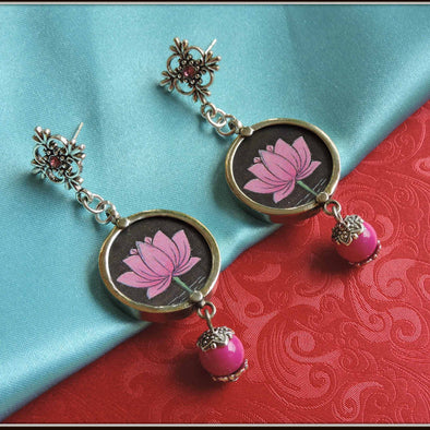 The Pink Lotus Pink Bead Earrings