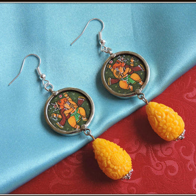 Yellow Dance Ganesha Earrings