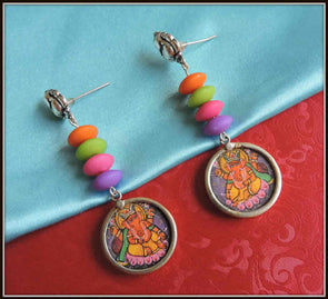 Colourful Ganesha Earrings