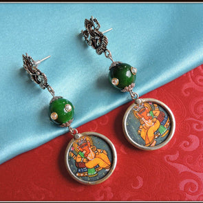 Green Kundan Ganesha Earrings