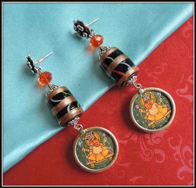 Black Bead Ganesha Earrings