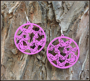 Fancy Wooden Earring - Fuschia Pink