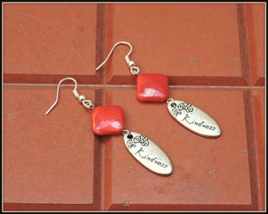 Kindness Earrings - Rhombus Red