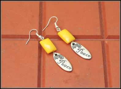 Peace Earrings - Yellow
