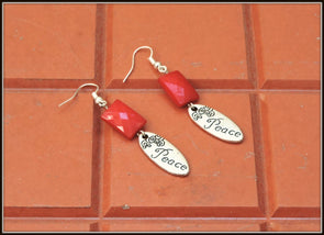 Peace Earrings - Red