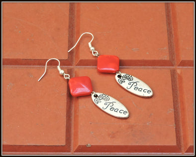 Peace Earrings - Rhombus Red