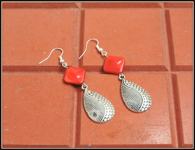 Teardrop Earrings - Rhombus Red
