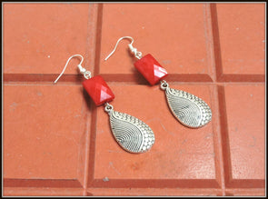 Teardrop Earrings - Red