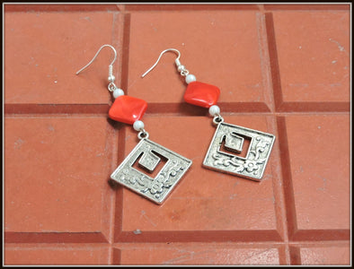 Designer Square Earrings - Red