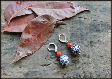 Porcelain Bead Earrings 03