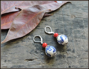Porcelain Bead Earrings 05
