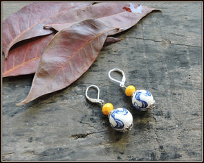 Porcelain Bead Earrings 09