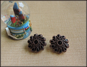 Round Studs in Copper tone with Black Stones
