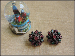 Round Studs in Copper tone with Green & Red Stones