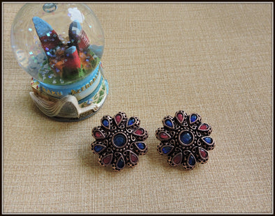 Round Studs in Copper tone with Pink & Blue Stones