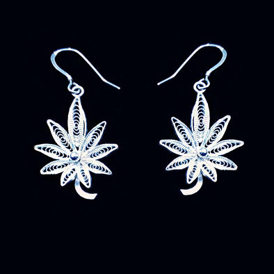 Silver Filigree Maple Leaf Earrings