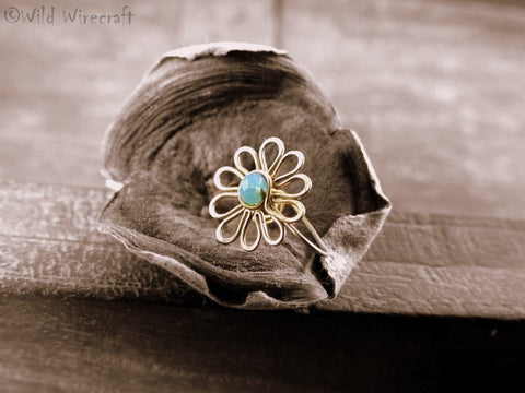 Sky Blue Flower Faux Nose Ring