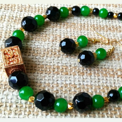 Ever Green Black Necklace Set