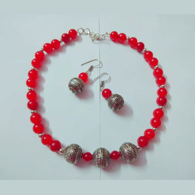 Red Glass Beads Neckpiece