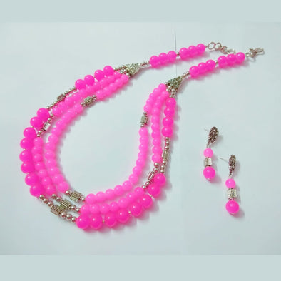 Tri-line Glass Beads Neckpiece