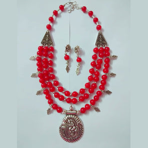 Mayur Charms Glass Beads Necklace
