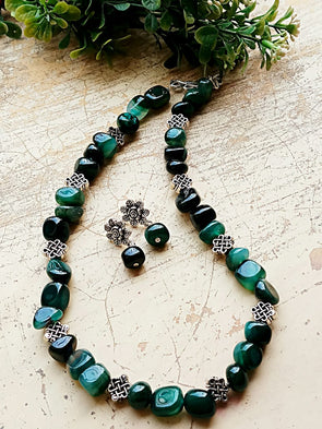 Dark Green Agate Nugget Neckpiece
